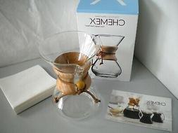 Chemex 6-cup Filter Drip Glass Coffeemaker CM-6A w/20 Chemex