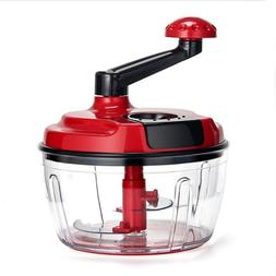 Momugs 8 Cup Red Food Processor Manual Hand Powered Crank La