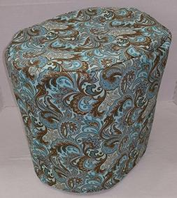 Brown & Teal Paisley Food Processor Cover
