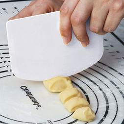 Dough & Bowl Scrapers Set of 2 - Plastic Dough Cutters - Mul