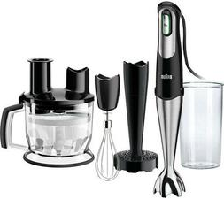 BRAUN Immersion Hand Blender w/ Food Processor, BPA Free, Bl
