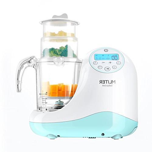 MLITER in Baby Food Maker Steam Sterilizer & Organic Food Pureeing & - BPA Free 3 Baskets LCD Display