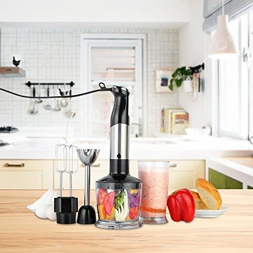 Immersion Watt 6-Speed For Cooks Blender Stainless Egg Whisk, 600ml BPA-Free Breaker and 500ml Chopper