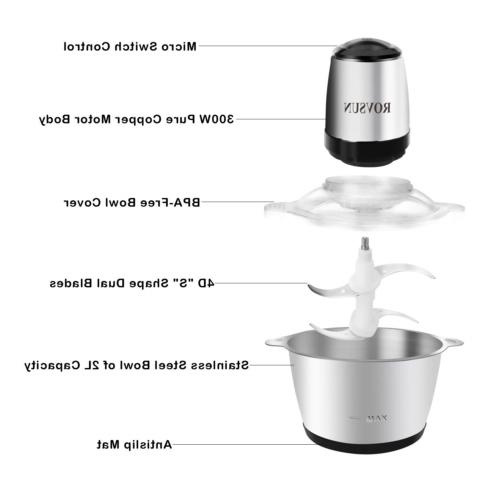 ROVSUN 8 Cup Electric Food Processor 2L Steel Bowl,
