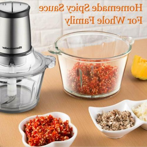 Homeleader Food Processor 2L BPA-Free Bowl Blender Grinder Speed