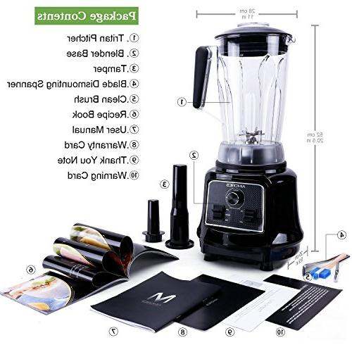 Aimores Commercial Blender for Shakes and Smoothies, Food Processor, Heavy Duty Juice Blender, 75oz Pitcher, 32,000RPM,