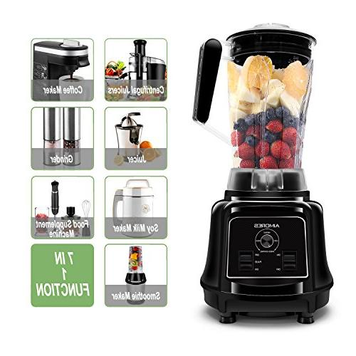 Aimores Commercial Blender for Shakes and Smoothies, Food Processor, Heavy Duty Juice Blender, 75oz Pitcher, 32,000RPM, Variable Speed Control, with Tamper & Recipe, ETL/FDA Certified