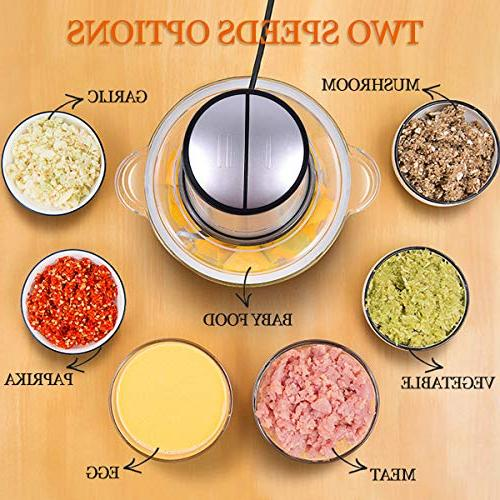 Electric Food 8-Cup Food Homeleader, 2L BPA-Free Glass Bowl Blender for Vegetables, Nuts, Fast 4 Sharp