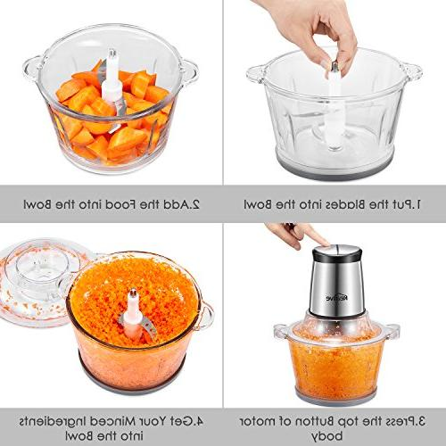 Food Chopper, Cup Processor, Meat Grinder with Speed Blades, for Meat, and Nuts,