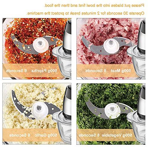 Electric Chopper, 5-Cup Food 1.2L Grinder for Meat, Vegetables, and Steel Motor Sharp Blades, 300W