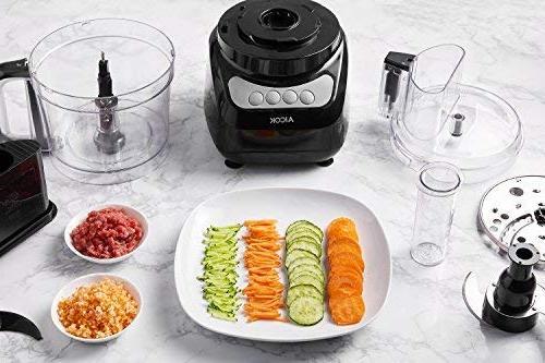 Food Processor 12-Cup, Aicok Food Blender, Food 3 Speed Options, 2 Chopping Blades & 1 Safety Interlocking Black