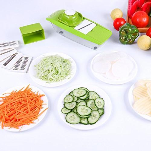 Mandoline Vegetable Food Processor Replaceable Blades Hand Guard Protector Storage Cutter Grater Potato Tomato