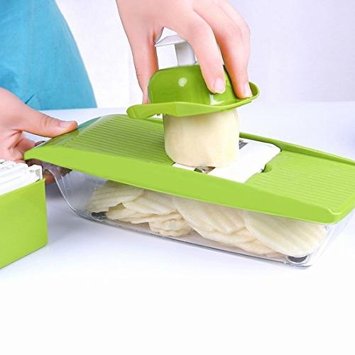 Mandoline Food Processor 5 Blades Hand Protector Storage Cutter Potato