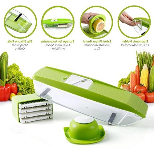 Mandoline Slicer Cutter Food Processor 5 Blades Hand Guard Protector Container Cutter Grater Potato Tomato