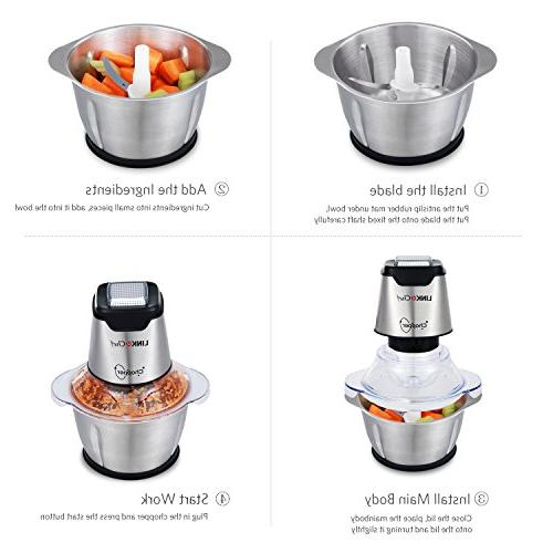 LINKChef Food 4 blades, Stainless Steel with Food Capacity –