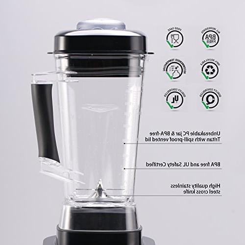SKG Commercial Professional Blender Power with display panel,8 Pre-programmed Setting and Pulse 1400W,Black