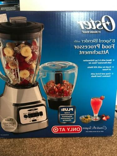 NEW OSTER 8 Speed Blender w/3 Cup Food Processor Attachment
