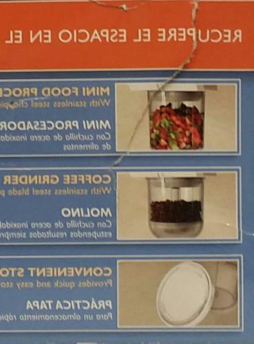 NEW MINI FOOD PROCESSOR~COFFEE GRINDER~BLACK UNDER CABINET