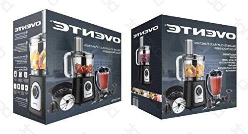 Ovente Cup Food with Blender, Chopper and Citrus Juicer, Black