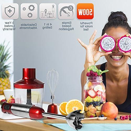 KOIOS Immersion Blender Setting Multi-Purpose 4-in-1 Hand Includes Stick Blender, 500ml Food 600ml Mixing Beaker BPA-Free