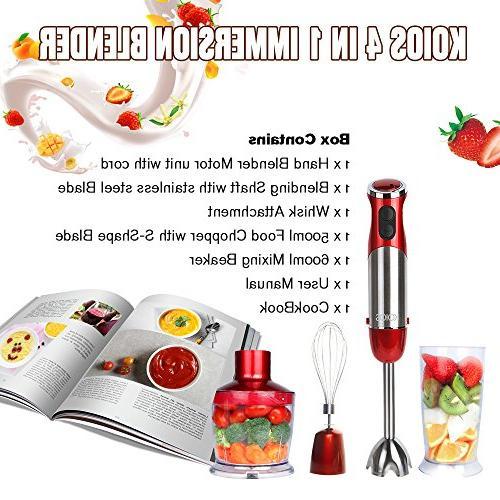 KOIOS Powerful Immersion Blender Multi-Purpose 4-in-1 Includes Food 600ml Mixing Beaker Whisk - BPA-Free