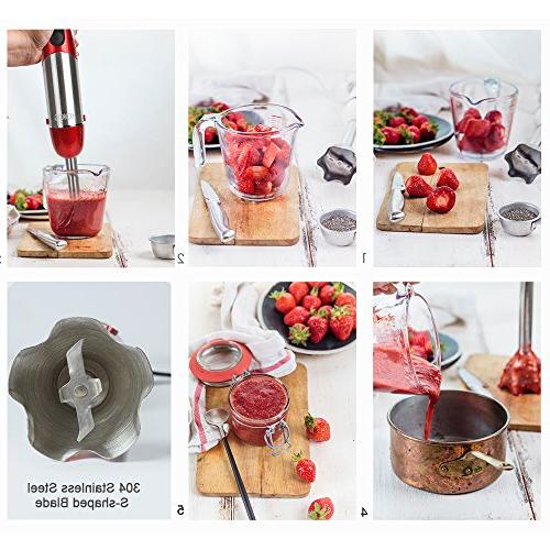 KOIOS 500 Immersion Multi-Purpose 4-in-1 Hand Blender Includes Stick Beaker and BPA-Free