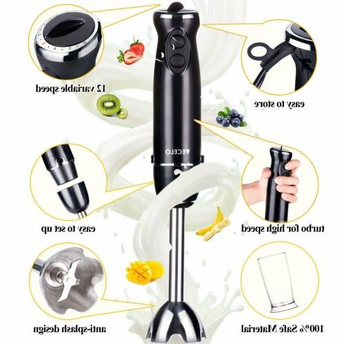 VECELO Premium Immersion Blender Set with Food Processor Chopper Egg Whisk