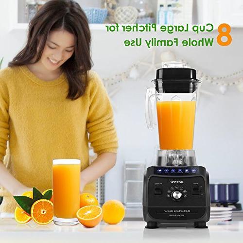 BESTEK Blender Shakes Smoothies, Multi-Function Pre-programmed Food Processor with 2L 8-Cup Jar