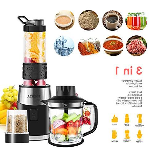 Smoothie Blender, Fochea 3 In 1 Multi-Function Kitchen High Speed with 570ml bottle, to Clean