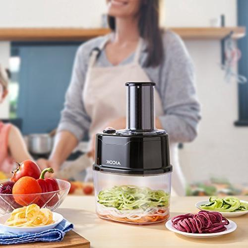 Aicok Spiralizer, Electric Spiralizer, 2-Blade Vegetable for Low Meals, 1.5L Large Bowl, Black