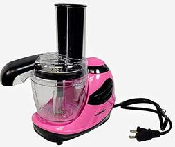 Ovente Pink 1.5 Cup Mini Food Chopper Processor With Feed Tu