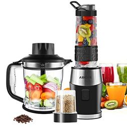 Smoothie Blender, Fochea 3 In 1 Food Processor Multi-Functio