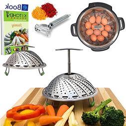 PRIME Vegetable Steamer Basket - EXTENDABLE HANDLE - Fits In