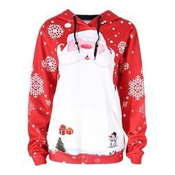 Womens Blouse New Hot Sale Fashion Loose Santa Clause Casual