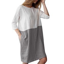 CieKen Womens Summer Autumn Casual Midi Dress with Pockets L